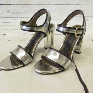 Marni Sandal Silver Metallic Leather Size 37.5